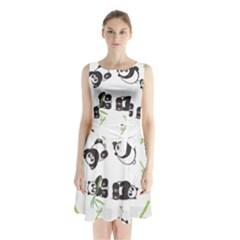 Panda Tile Cute Pattern Sleeveless Chiffon Waist Tie Dress