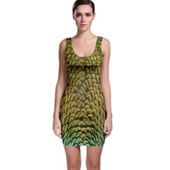 Colorful Iridescent Feather Bird Color Peacock Sleeveless Bodycon Dress