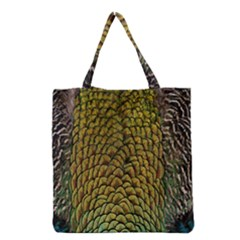Colorful Iridescent Feather Bird Color Peacock Grocery Tote Bag