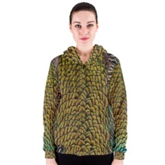 Colorful Iridescent Feather Bird Color Peacock Women s Zipper Hoodie
