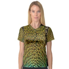 Colorful Iridescent Feather Bird Color Peacock Women s V-Neck Sport Mesh Tee