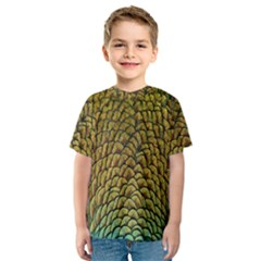 Colorful Iridescent Feather Bird Color Peacock Kids  Sport Mesh Tee