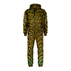 Colorful Iridescent Feather Bird Color Peacock Hooded Jumpsuit (kids)