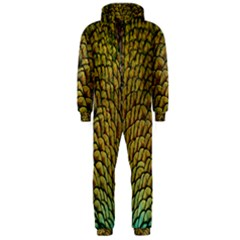 Colorful Iridescent Feather Bird Color Peacock Hooded Jumpsuit (men)