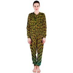 Colorful Iridescent Feather Bird Color Peacock Onepiece Jumpsuit (ladies)