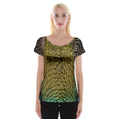 Colorful Iridescent Feather Bird Color Peacock Women s Cap Sleeve Top