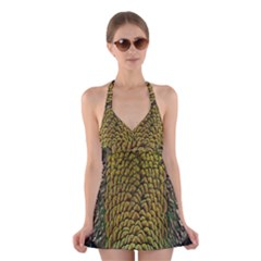 Colorful Iridescent Feather Bird Color Peacock Halter Swimsuit Dress