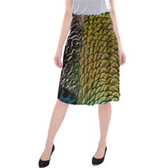 Colorful Iridescent Feather Bird Color Peacock Midi Beach Skirt