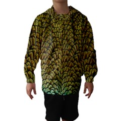 Colorful Iridescent Feather Bird Color Peacock Hooded Wind Breaker (Kids)
