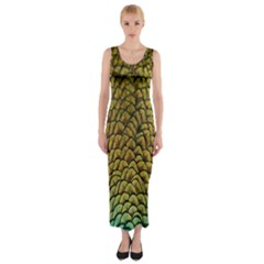 Colorful Iridescent Feather Bird Color Peacock Fitted Maxi Dress