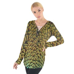 Colorful Iridescent Feather Bird Color Peacock Women s Tie Up Tee