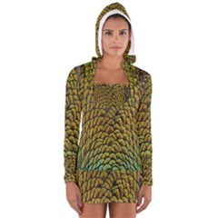 Colorful Iridescent Feather Bird Color Peacock Women s Long Sleeve Hooded T Shirt