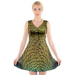 Colorful Iridescent Feather Bird Color Peacock V Neck Sleeveless Skater Dress
