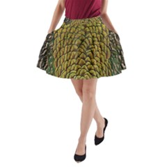 Colorful Iridescent Feather Bird Color Peacock A Line Pocket Skirt