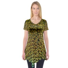 Colorful Iridescent Feather Bird Color Peacock Short Sleeve Tunic