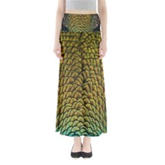 Colorful Iridescent Feather Bird Color Peacock Maxi Skirts