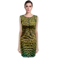 Colorful Iridescent Feather Bird Color Peacock Classic Sleeveless Midi Dress