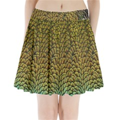 Colorful Iridescent Feather Bird Color Peacock Pleated Mini Skirt