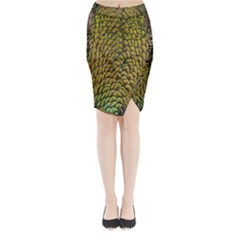 Colorful Iridescent Feather Bird Color Peacock Midi Wrap Pencil Skirt
