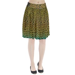 Colorful Iridescent Feather Bird Color Peacock Pleated Skirt