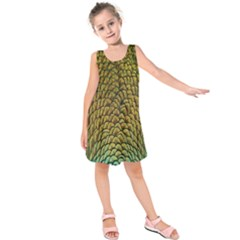 Colorful Iridescent Feather Bird Color Peacock Kids  Sleeveless Dress