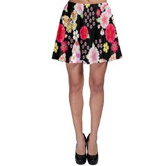 Flower Arrangements Season Rose Butterfly Floral Pink Red Yellow Skater Skirt