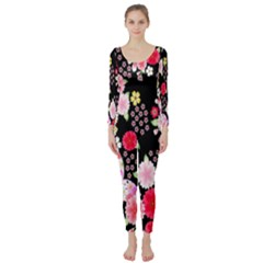 Flower Arrangements Season Rose Butterfly Floral Pink Red Yellow Long Sleeve Catsuit
