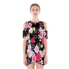 Flower Arrangements Season Rose Butterfly Floral Pink Red Yellow Shoulder Cutout One Piece