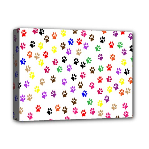 Paw Prints Background Deluxe Canvas 16  X 12