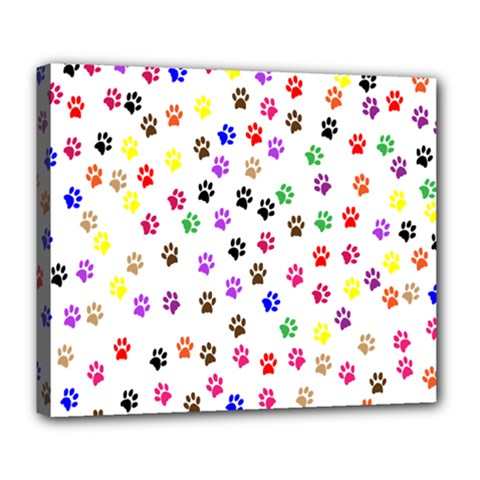 Paw Prints Background Deluxe Canvas 24  X 20