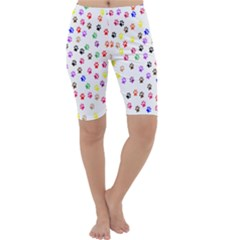 Paw Prints Background Cropped Leggings