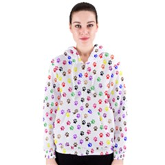 Paw Prints Background Women s Zipper Hoodie