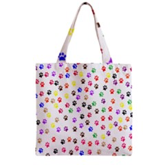 Paw Prints Background Zipper Grocery Tote Bag