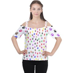 Paw Prints Background Women s Cutout Shoulder Tee