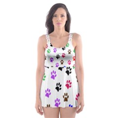 Paw Prints Background Skater Dress Swimsuit
