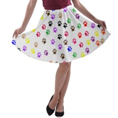 Paw Prints Background A Line Skater Skirt