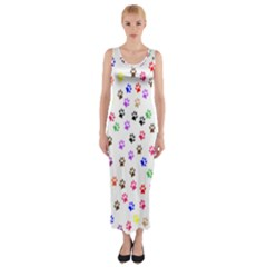 Paw Prints Background Fitted Maxi Dress