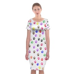 Paw Prints Background Classic Short Sleeve Midi Dress