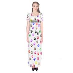 Paw Prints Background Short Sleeve Maxi Dress