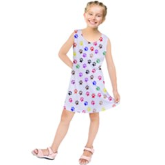 Paw Prints Background Kids  Tunic Dress