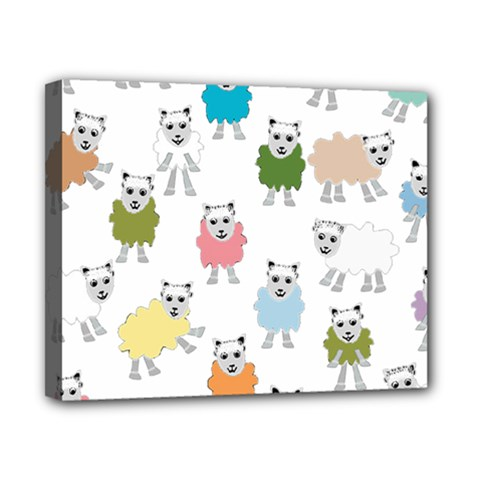 Sheep Cartoon Colorful Canvas 10  X 8