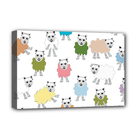Sheep Cartoon Colorful Deluxe Canvas 18  X 12