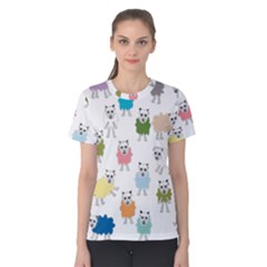 Sheep Cartoon Colorful Women s Cotton Tee