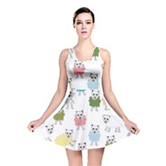 Sheep Cartoon Colorful Reversible Skater Dress