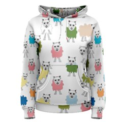 Sheep Cartoon Colorful Women s Pullover Hoodie