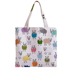 Sheep Cartoon Colorful Zipper Grocery Tote Bag