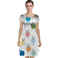 Sheep Cartoon Colorful Cap Sleeve Nightdress