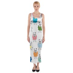 Sheep Cartoon Colorful Fitted Maxi Dress
