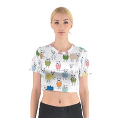 Sheep Cartoon Colorful Cotton Crop Top