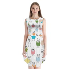 Sheep Cartoon Colorful Sleeveless Chiffon Dress